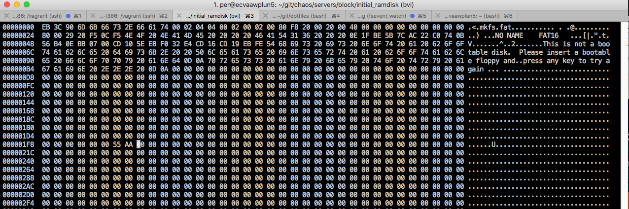 Hexdump of the first sectors of the ramdisk image