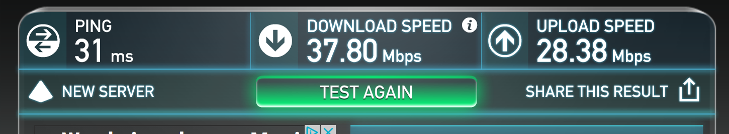 Speedtest again, with cable